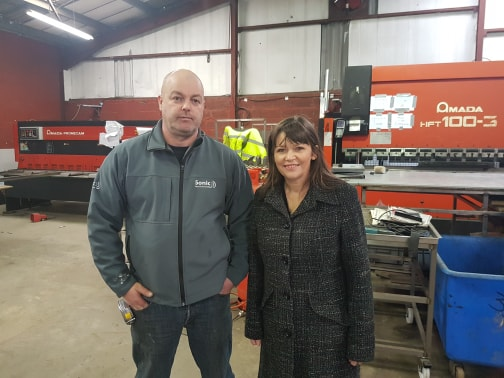 20180215 - Clare Haughey MSP with Scott McMahon of Sonic Stainless Ltd
