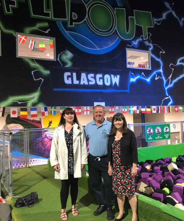 Clare Haughey MSP, Cllr Janine Calikes at Flip Out