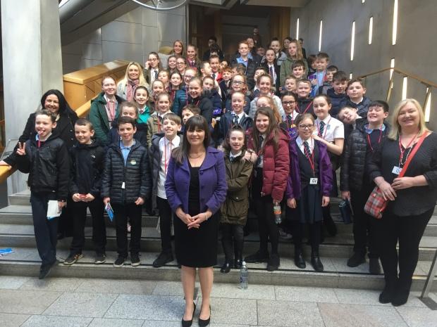 Clare Haughey MSP with Calderwood Primary at Parliament